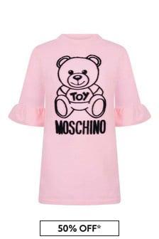 Girls Pink Cotton Teddy Dress
