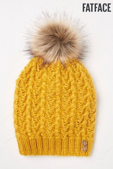 FatFace Yellow Cable Softie Beanie
