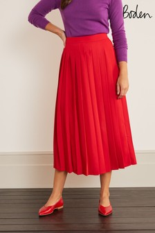 Boden Red Musgrove Pleated Skirt