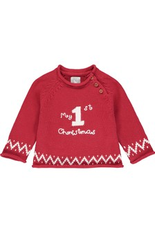 The Little Tailor Red My First Christmas Jumper