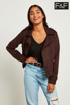 F&F Brown Suedette Short Biker Jacket