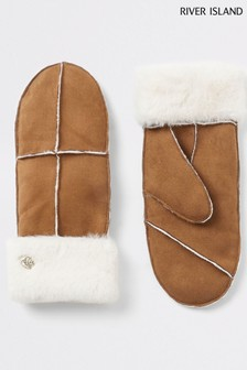 River Island Brown Faux Fur Trimmed Mittens