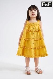 F&F Mustard Tiered Woven Dress