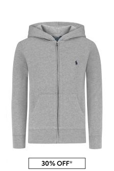 Boys Grey Hooded Zip Up Top