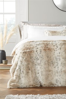 Snow Leopard Faux Fur Throw