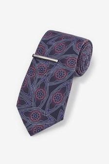 Printed Tie With Tie Clip Set