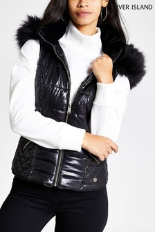 River Island Black Sleeveless High Shine Tatiana Gilet