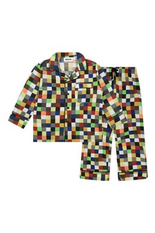Boys Multicoloured Organic Cotton Pixel Pyjamas