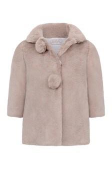 Baby Girls Light Brown Faux Fur Coat