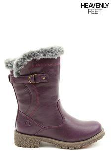 Heavenly Feet Purple Junior Girls Faux Fur Cuff Boots