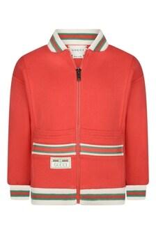Girls Red Cotton Zip-Up Top