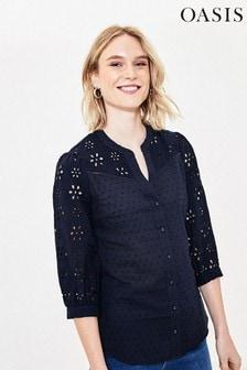 Oasis Blue Broderie Sleeve Shirt