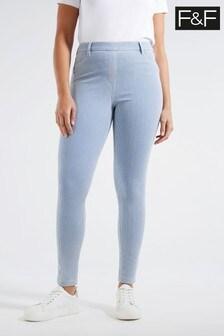 F&F Multi Blue Stripe Ultra Comfort Jeggings