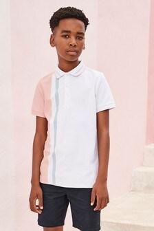 Vertical Stripe Colourblock Poloshirt (3-16yrs)