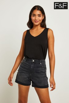 F&F Black Denim Boyfriend Short
