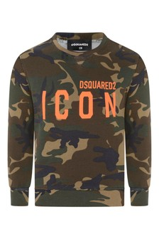 Kids Green Camouflage Icon Sweater