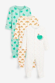 3 Pack GOTS Organic Apple Rainbow Sleepsuits (0-2yrs)