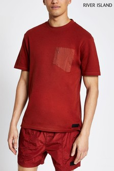River Island Red Nylon Panel T-Shirt