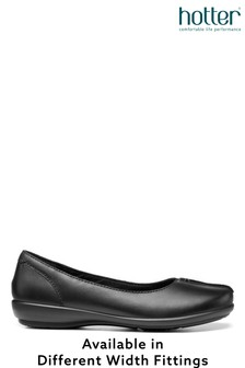 Hotter Black Robyn Wide Fit Slip-On Ballerina Shoes