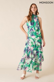 Monsoon Green Printed Chiffon Maxi Dress