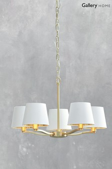 Harry Brushed Gold 5 Pendant Light by Gallery Direct