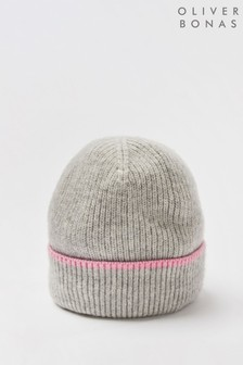 Oliver Bonas Grey/Pink Cashmere Knitted Beanie Hat