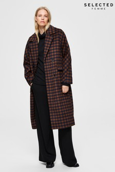 Selected Femme Brown Check Coat