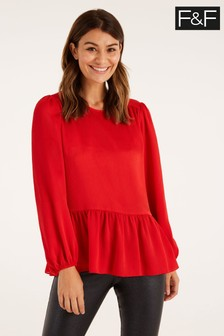 F&F Red Satin Peplum Blouse