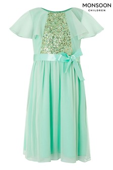 Monsoon Green Ellie Cape Sequin Dress