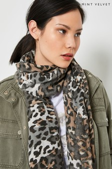 Mint Velvet Neutral Soft Animal Print Scarf