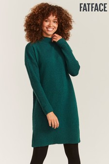 FatFace Green Roll Neck Knit Dress