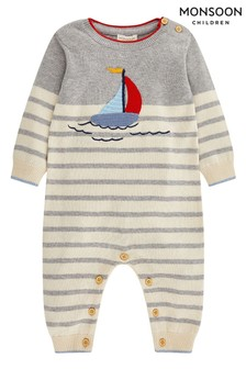 Monsoon Newborn Boy Freddie Boat Knitted Sleepsuit