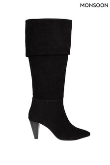 Monsoon Black Suede Long Slouch Boots
