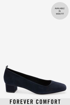 Leather Low Block Heel Shoes