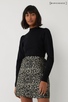 Warehouse Animal Leopard Jacquard Mini Skirt