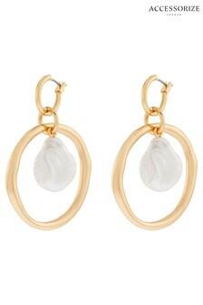 Accessorize Gold Tone Pearl Statement Hoop Drop Earrings