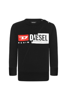 Diesel Baby Boys Black Cotton Sweat Top