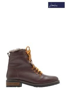 Joules Brown Ashwood Faux Fur Lined Biker Boots