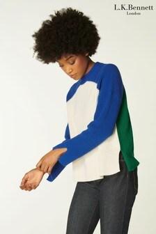 L.K.Bennett Blue Hayes Colourblock Knit Top