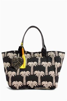 Palm Tree Print Canvas Shopper
