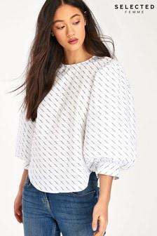 Selected Femme White Logo Print Ballon Sleeve Blouse
