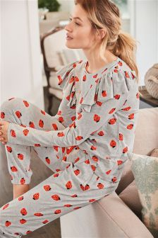 Strawberry Cotton Blend Ruffle Pyjamas
