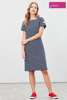 Joules Blue Riviera Long Short Sleeve Jersey Dress