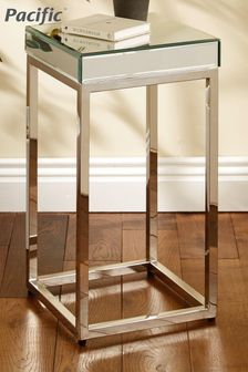 Pacific Lifestyle Silver Mirrored Glass Metal Square Small Table