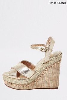 River Island Gold Wifey Cross Strap High Wedge Sandals