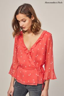 Abercrombie & Fitch Red Wrap Front Blouse