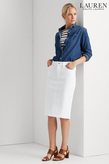 Lauren Ralph Lauren® White Pencil Denim Midi Skirt