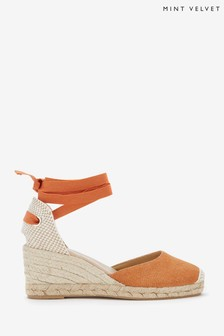 Mint Velvet Beth Orange Espadrille Wedge Sandals