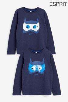 Esprit Blue Superhero Sequin Long Sleeve T-Shirt