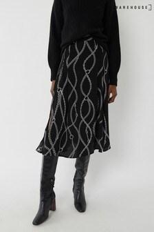 Warehouse Black Chain Print Pleated Midi Skirt